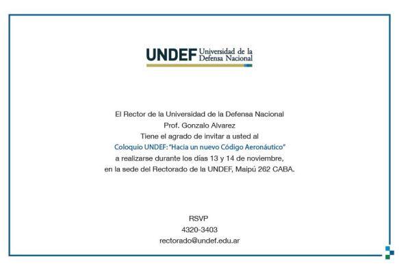 Invitación Rector UNDEF - Coloquio UNDEF - Hacia un Nuevo Código Aeronaútico