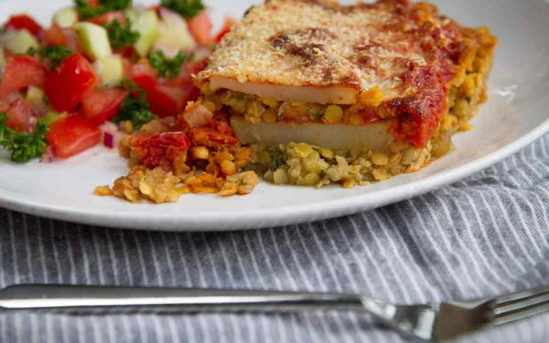 Vegetarian Moussaka & Tomato Cucumber Salad