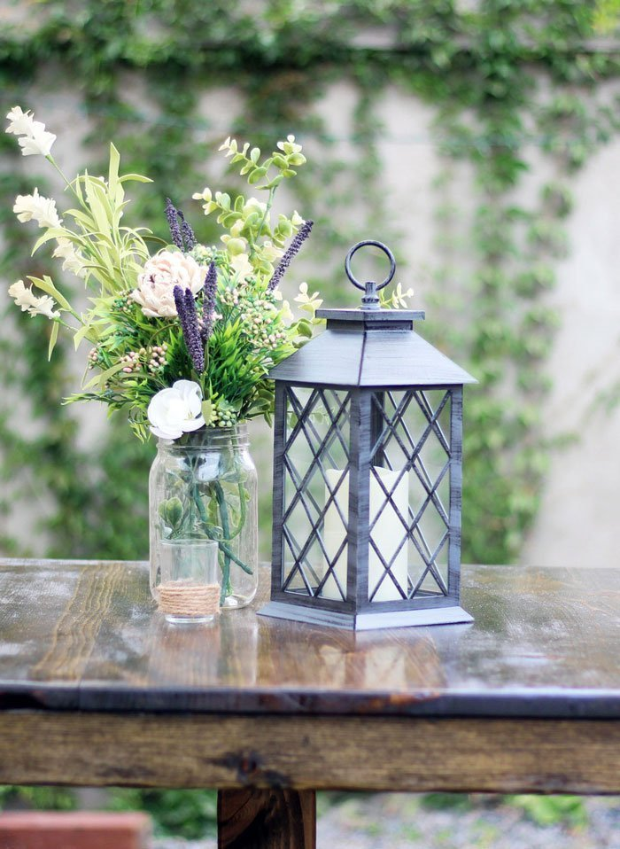 Grey Criss Cross Lantern With LED Candle Rental