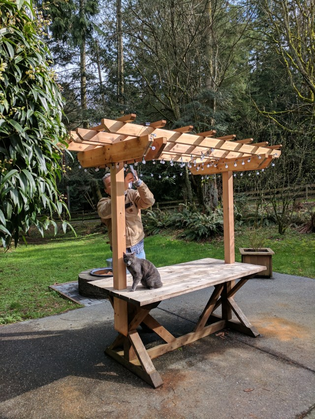 Attaching solar string lights to a Western Red Cedar Picnic Table Arbor