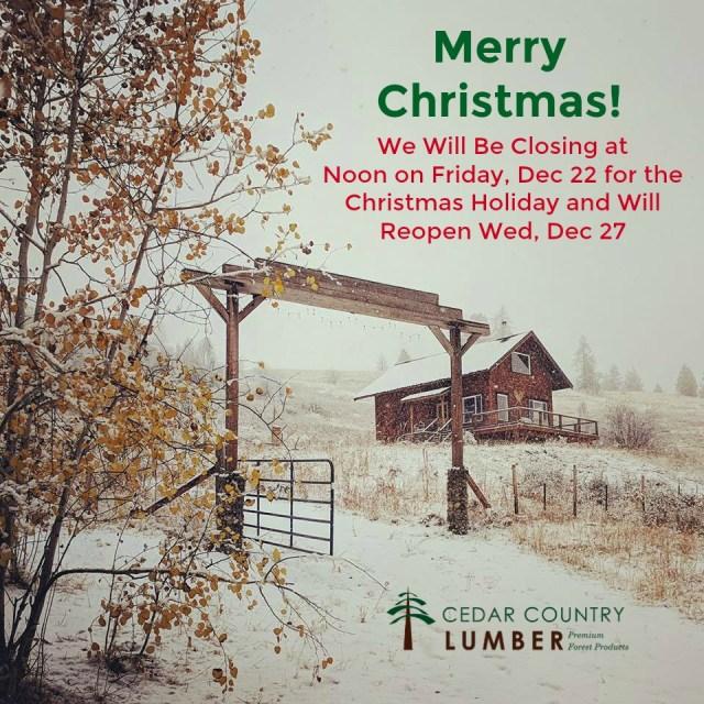 Christmas Holiday Hours 2017