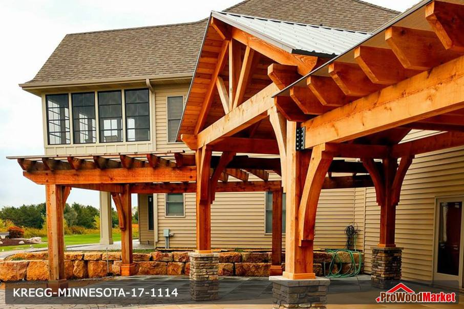 Over sized Western Red Cedar timbers make this amazing build by Minnesota Pergolas