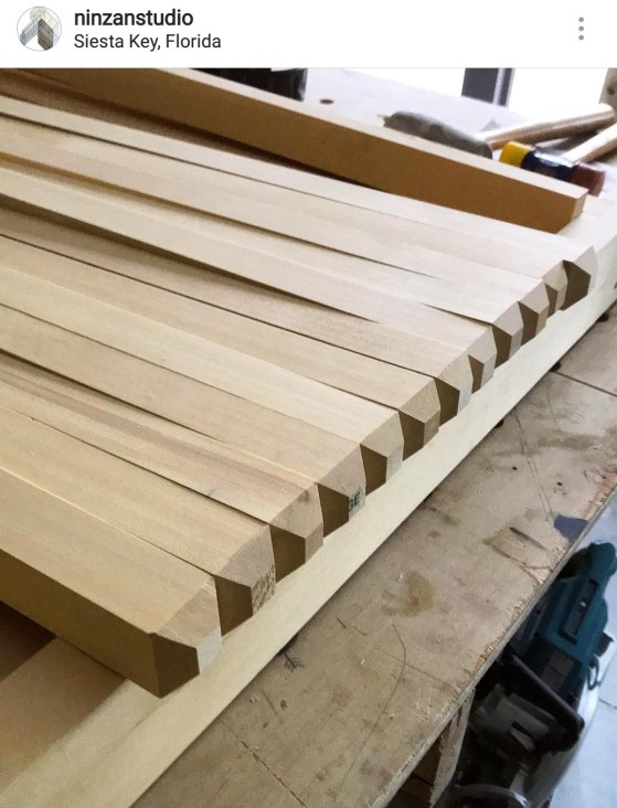 Clear, Alaskan Yellow Cedar is milled into pickets for a custom gate in Florida