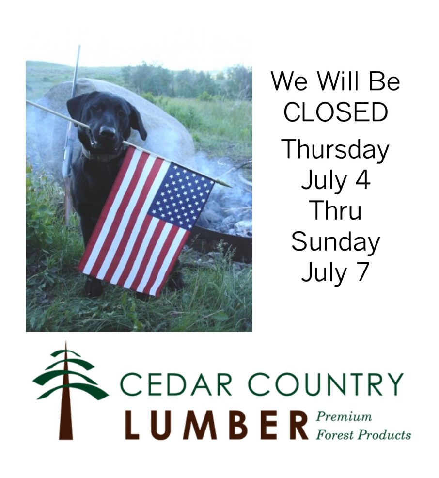 Cedar Country Independence Day Closure 2019