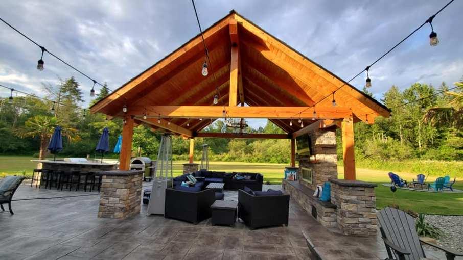 Large Doug Fir Timbers for outdoor living room