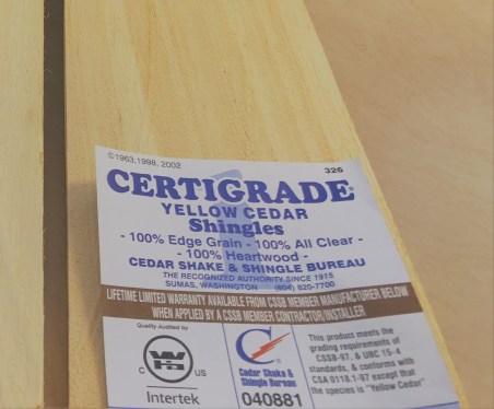 certigrade yellow cedar shingles