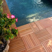 Easy to install, our Mahogany Deck Tiles are perfect around pools and spas