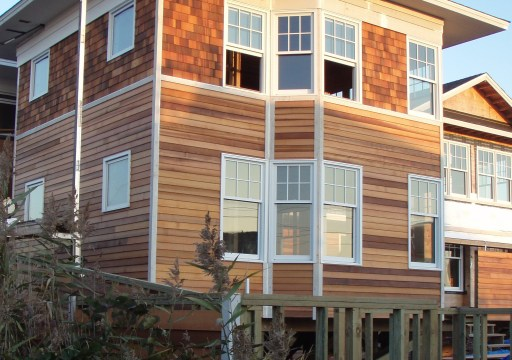 Clear, vertical grain Western Red Cedar Bevel siding define this luxury home on Fire Island in New York