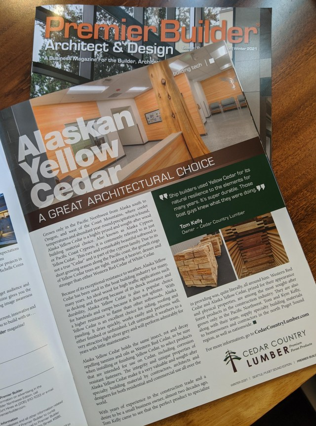 Cedar Country Lumber reports on the pro's of using Alaska Yellow Cedar in today's construction projects