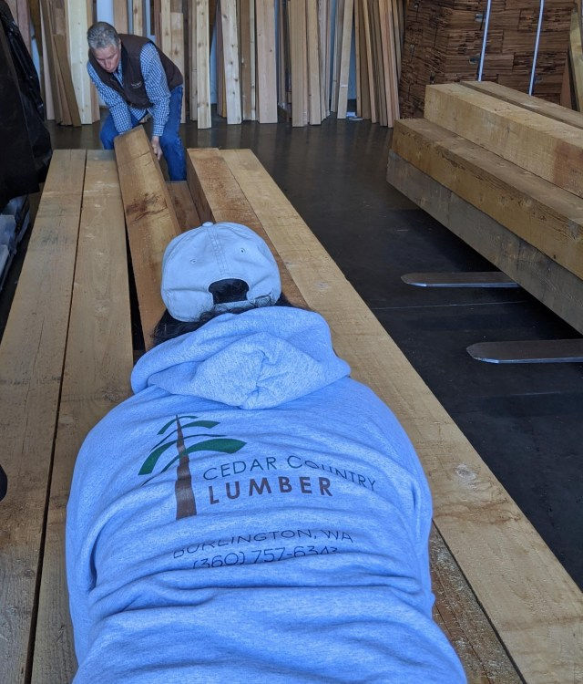 Western Red Cedar timbers being assembled for a job site delivery by Cedar Country Lumber