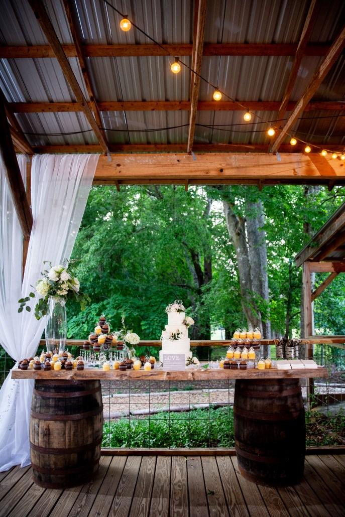 Dessert Bar on whiskey barrels and slab