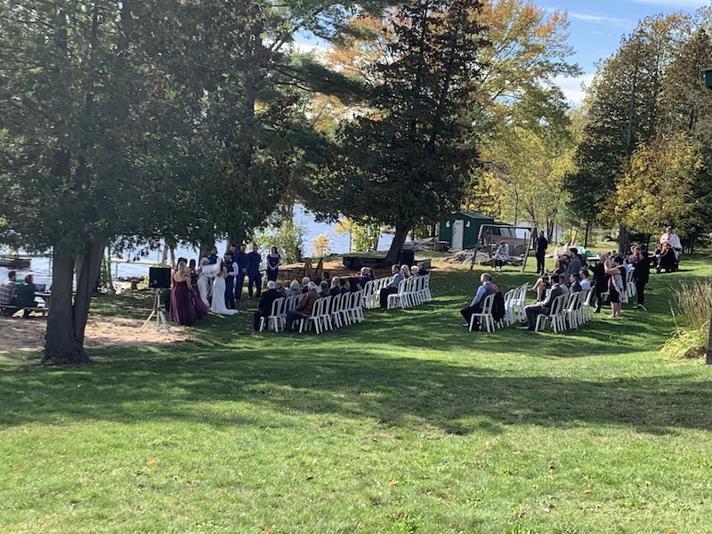 a wedding at a cottage resort in Northen Ontario