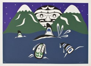 Killer Whales and Moon, William Cook, Native Art Print, Aboriginal Art, Indigenous Art, Northwest Coast Art, First Nations Art, Native American Art