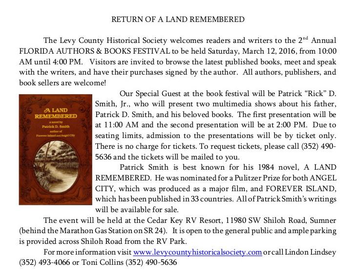 JAN 24 TONI LAND REMBRED Bk fest news release 01 27 16