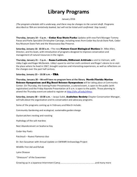 JAN 10 Library Programs January 2016