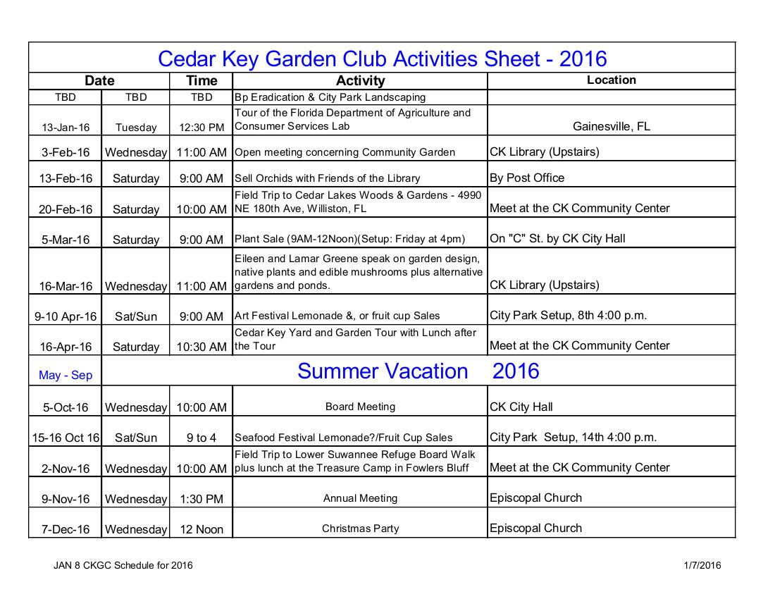 JAN 8 CKGC Schedule for 2016