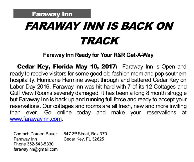 MAY 10 FARAWAY INN Press Release May 2017