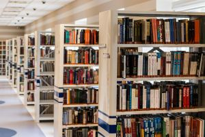 White and blue bookshelves in a library images blurs in background Cedar Law PLLC An Education Law Firm