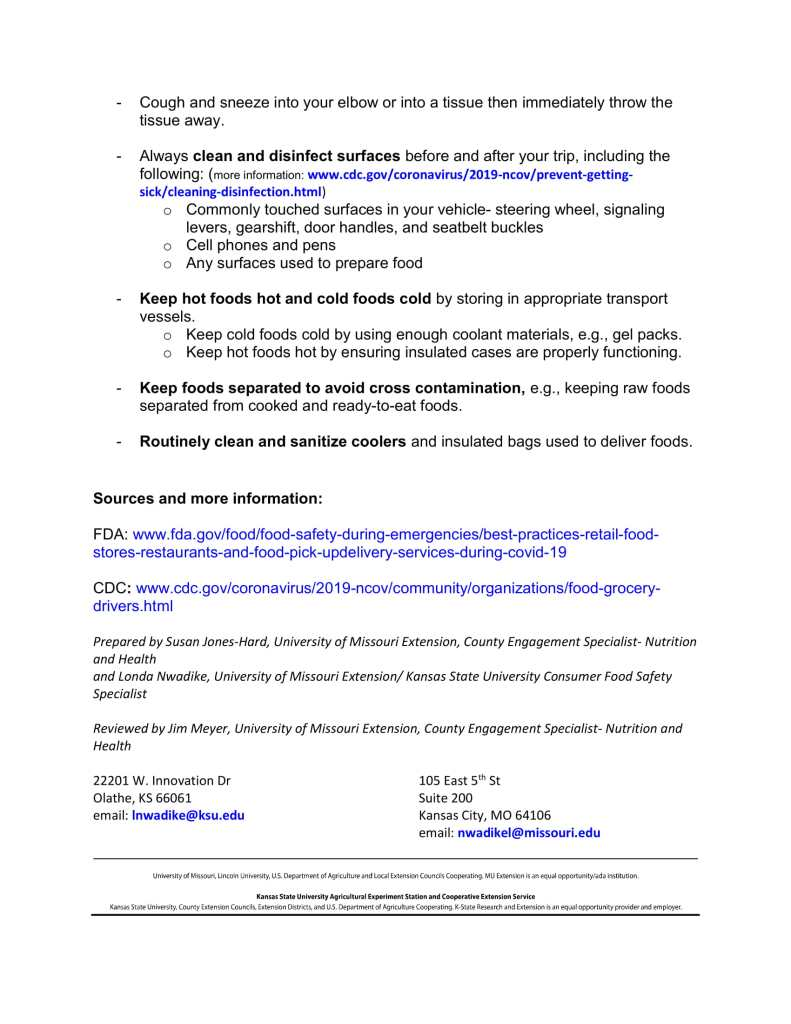 Page 2 Tips for safely delivering food to others