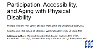 Title slide of 2021 ADA State of the Science Conference presentation: Participation, Accessibility, and Aging with Physical Disability