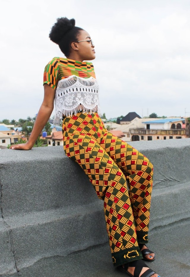 ankara casual outfits croptop and female trouser