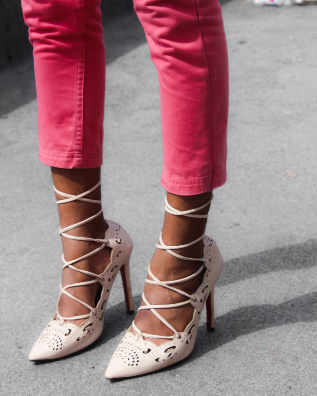 light pink denim and nude lace up heels