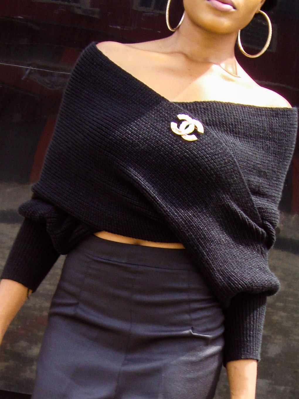 black statement overlapping blouse,