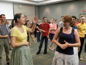 Senior Lesley Nash teaches colonial dancing to a group of students Sept. 21 in the SSC for an Epsilon Pi Lambda event. Nash got interested in colonial dancing when she went to Jackson Hole Bible College, a one-year Bible school near Jackson, Wyo. | Photo courtesy of Lesley Nash