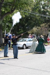 Ready, aim, fire! Reenactors fired their guns during the Labor Day parade in Cedarville.