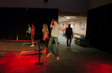 Students play corn-hole in the upper SSC during the Oct. 30 ALT night.