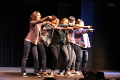 """The women's org Phi Gamma Psi performs a cheery lip-sync to Hilary Duff's """"Hey Now"""" at the final night of Org Wars, Nov. 13."""
