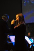 Elizabeth McCormick plays the piccolo during Veterans Day Chapel Nov. 11.