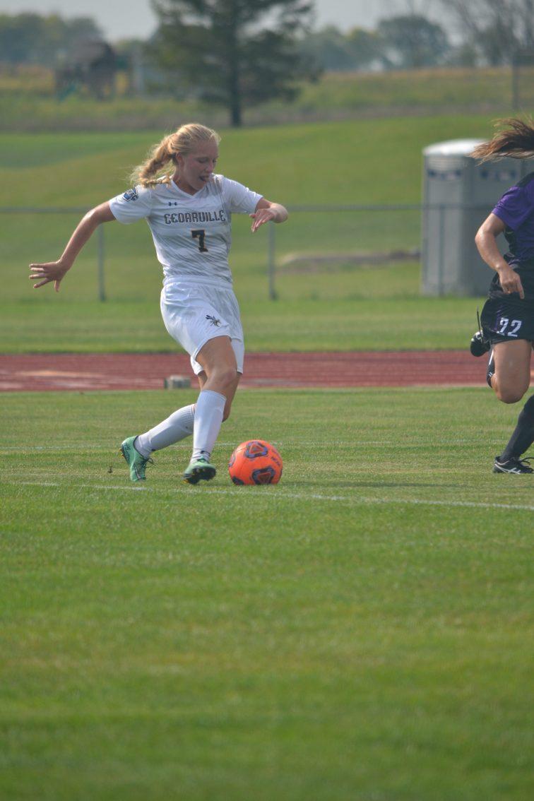 Freshman Hannah Atkinson dribbles the ball upfield. She scored the teams only goal. (Photo: Andriana Polsdorfer)