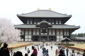 The Nara Buddha, the largest Buddha in Japan, is inside this Daibutsuden that is the largest wooden structure in the world.
