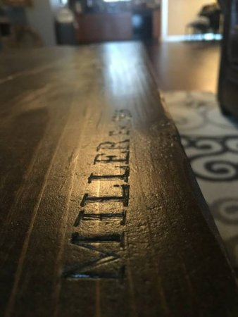 rustic pipe coffee table engraving