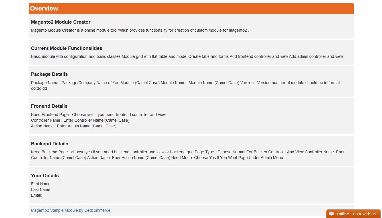 Magento-2 Module Creator Service • CedCommerce