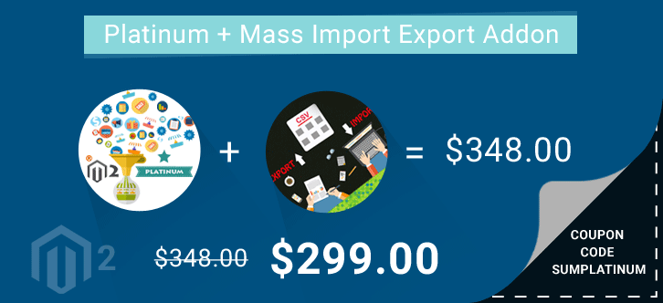 Multi-Vendor Marketplace Platinum + Vendor Mass Import Export Addon at $299 ( 64.31% OFF ) | Coupon Code SUMPLATINUM