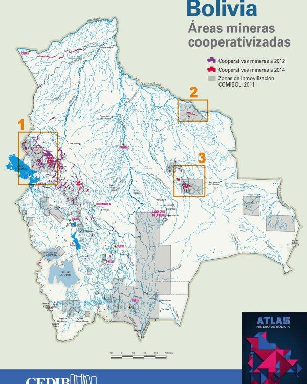Mapa interactivo: Áreas mineras cooperativizadas (Atlas Minero de Bolivia)