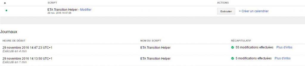 capture ecran script modification ETA