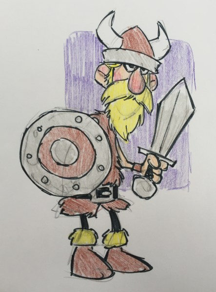 Color sketch by Cedric Hohnstadt of a cartoon viking holding a shield and sword. Copyright © 2016, Cedric Hohnstadt. All rights reserved. https://www.cedricstudio.com