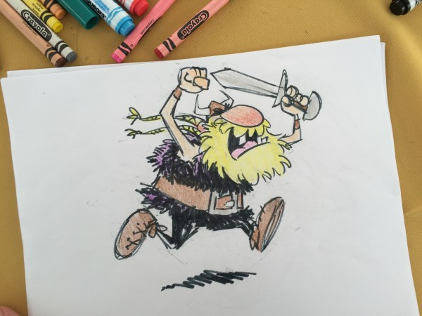 Color sketch by illustrator Cedric Hohnstadt of a viking running with his sword. Copyright © 2016, Cedric Hohnstadt. All rights reserved. https://www.cedricstudio.com