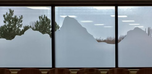 Picture of a horizon on the windows in the ICU waiting room at EIRMC Hospital, Idaho Falls, Idaho.