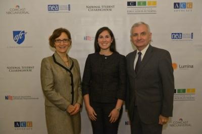 Rep. Suzanne Bonamici, CEF President Jocelyn Bissonette, and Senator Jack Reed