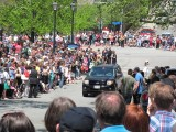 Security Car and Crowds