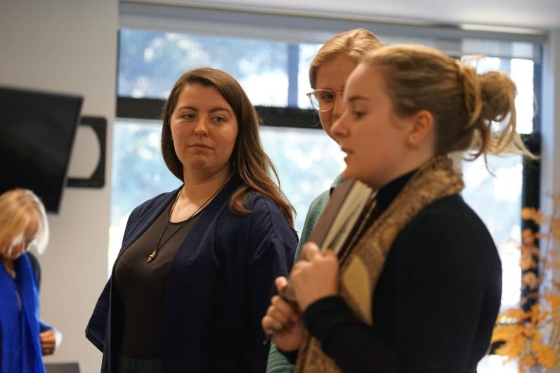 Susanne, Harriet and Amy pitching an Anthropocene exhibition