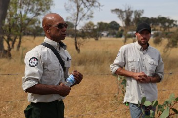 ACT Parks and Conservation Service Murumbung Rangers Dean Freeman and Jackson Taylor-Grant. Photo courtesy of Dr Jessica K Weir