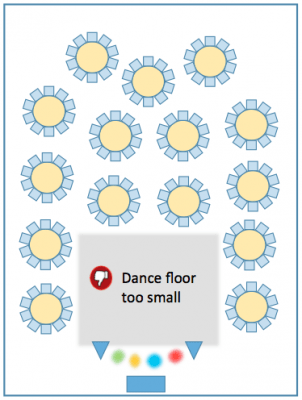 Diagram of a room with a small dance floor