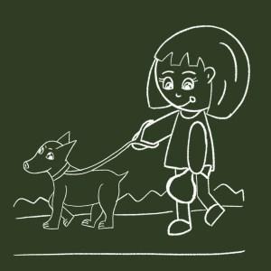 walking dog with poo bag