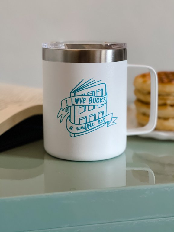 Waffle Book Pun on mug