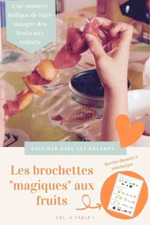 """Recette pour enfants des brochettes """"magiques"""" aux fruits"""